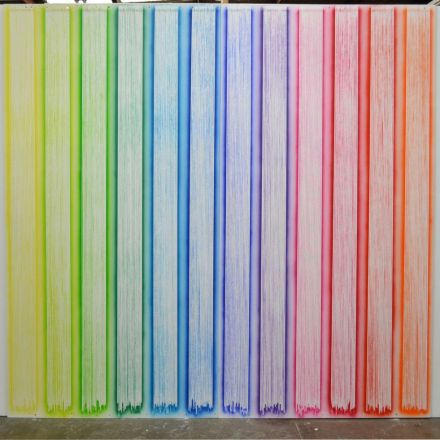 Reality Stripes, by Chris Packer, acrylic on plywood, size 240 cm high x 480cm wide, 2015